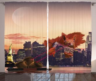 Animal Curtain Big Squirrel Cartoon NYC Print 2 Panel Window Drapes