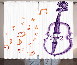 Musical Note Black Theme Curtain