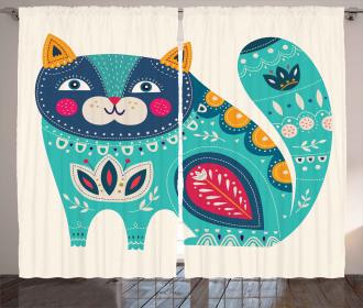 Paisley Style Cat Kitten Curtain