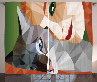 Geometric Mosaic Kitten Curtain