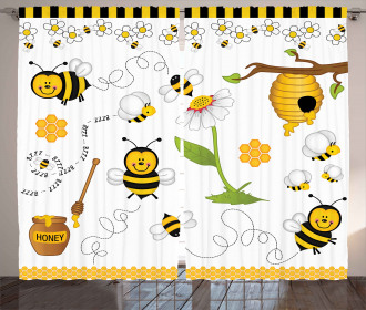 Bees Daisies Chamomile Curtain