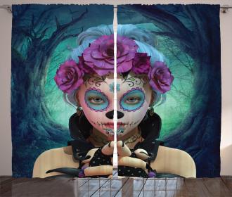 Horror Curtain Scary Clown Girls Flower Print 2 Panel Window Drapes