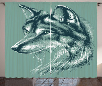 Wild Exotic Wolf Image Curtain