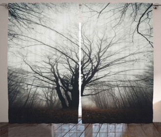 Autumn Tree in Fog Dark Curtain
