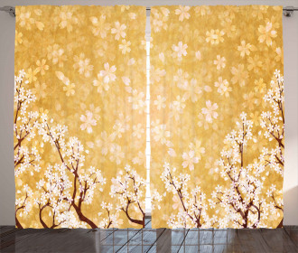 Trees Blossom in Spring Curtain