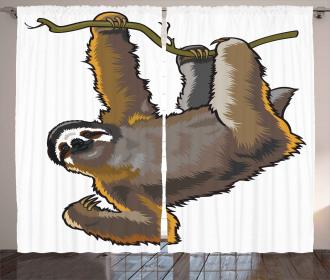 Lazy Sloth Bear Cartoon Curtain