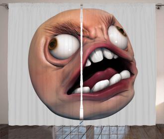Angry Rage Meme Guy Fun Curtain