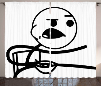 Grumpy Forever Alone Guy Curtain