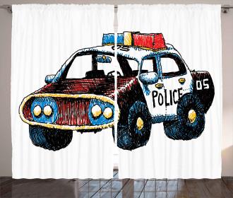 Sketchy Police Car Curtain