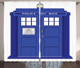 Blue Brit Phone Box Curtain