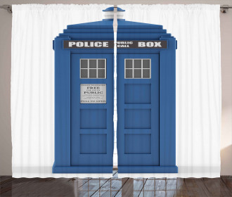 Abstract Blue Phone Box Curtain