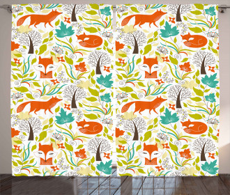 Wild Fox Wolf Flower Curtain