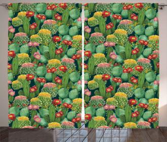Cactus Flowers Garden Curtain