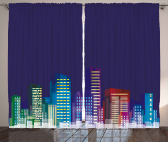 City at Night Cartoon Curtain