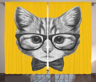 Baby Hipster Kitten Cat Curtain