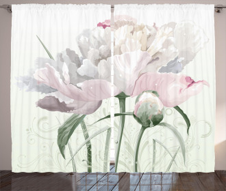 Pink Rose Tulip Abstract Curtain
