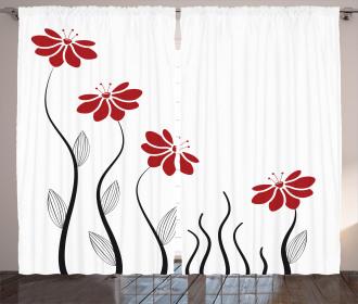 Modern Floral Petals Curtain