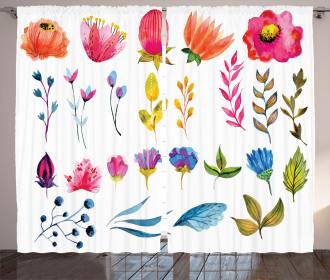Watercolor Garden Design Curtain