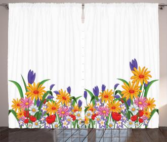 Cartoon Garden Tulips Curtain