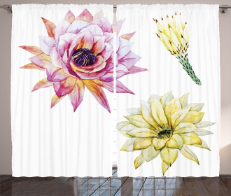 Watercolored Flowers Curtain
