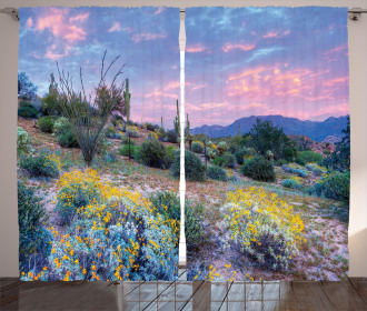 Mountain Floral Scenery Curtain