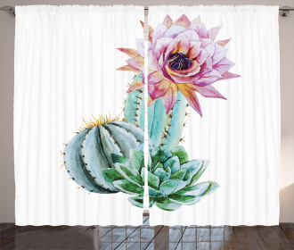 Cactus Flower and Spike Curtain