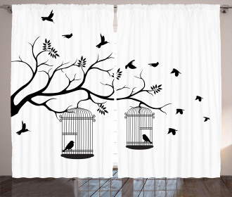 Birds Flying to Cages Curtain