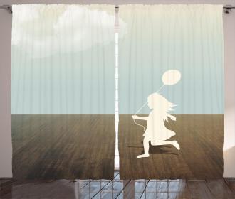 Little Girl with Balloon Curtain