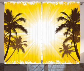 Place with Palm Trees Curtain