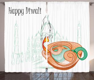 Sketchy Diwali Festive Curtain