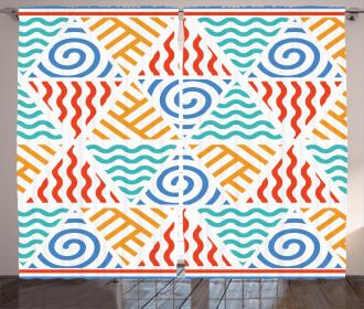 Four Elements Retro Art Curtain