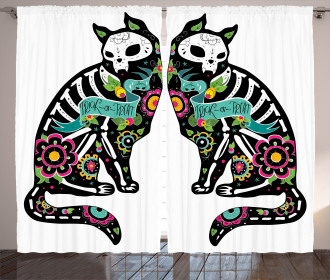 Skeleton Cats Skull Curtain
