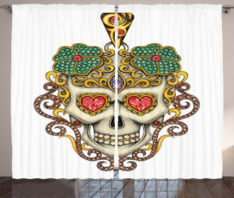 Colorful Skull Curtain