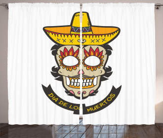Skull with Sombrero Curtain