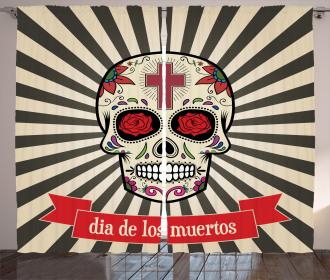Skull on Sunburst Curtain