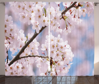 Floral Cherry Branches Curtain
