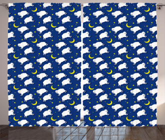 Cute Sleeping Lambs Animal Curtain
