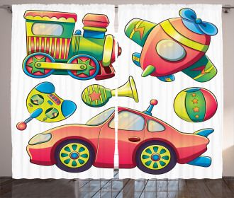 Balls Auto Tire Cartoon Curtain