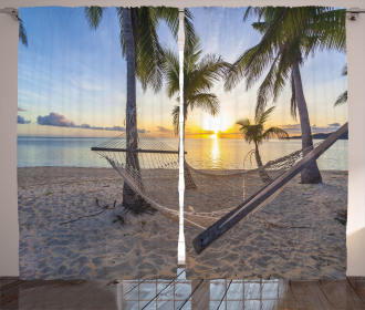 Paradise Beach Palms Curtain