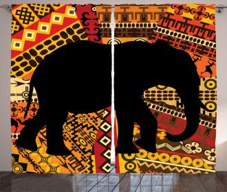 Elephant Silhouette Curtain