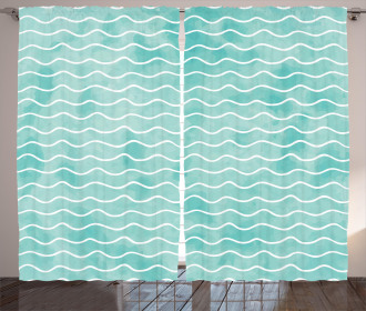 Ocean Sea Wave Pattern Curtain