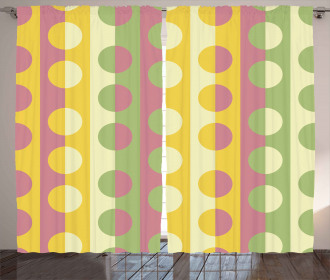 Retro Geometric Stripe Curtain