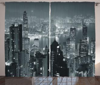 Aerial Night Landscape Curtain