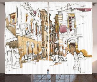 Street Town Sketch Curtain