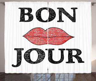 Vintage Bon Jour Quote Curtain