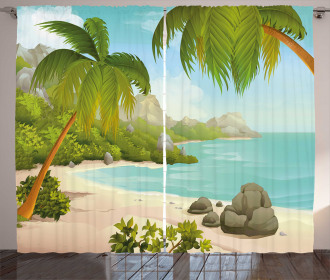 Palm Trees and Rocks Curtain
