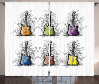 Guitar Collage for Teens Curtain