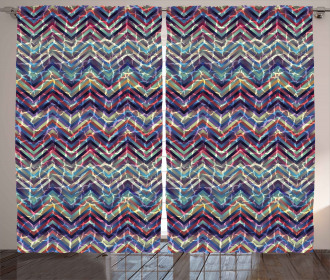 Abstract ZigZag Chevron Curtain