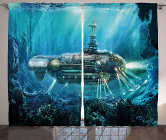 Science Fiction Submarine Curtain
