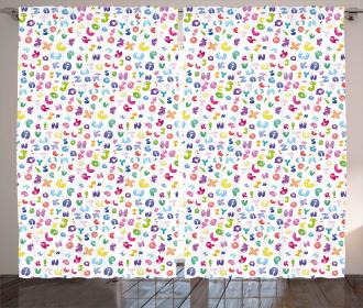 Bubble Letters Doodle Fun Curtain